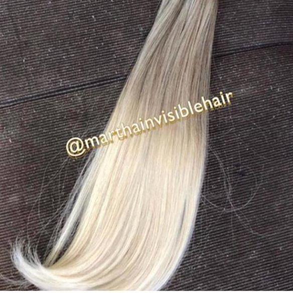 Cabelo loiro manteiga Martha Hair nº 12.1, mechado liso, raiz esfumada, com coloração (kit com 25g)