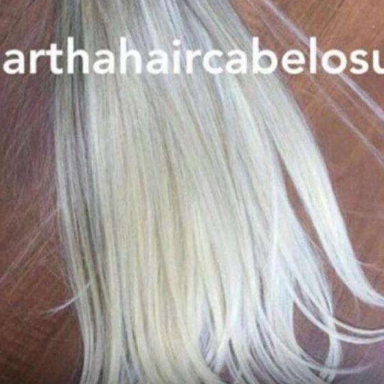 Cabelo loiro platinado Martha Hair nº 12.1, com coloração (kit com 25g)