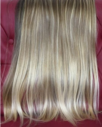 Cabelo loiro ultra claríssimo Martha Hair nº 12, mesclado, com coloração (kit com 25g)
