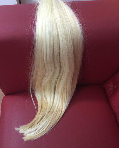 Cabelo loiro ultra claríssimo Martha Hair nº 12, mesclado, natural liso, com coloração (kit com 25g)