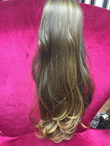 Cabelo loiro médio Martha Hair nº 7, ombre hair, pontas, natural, liso, com coloração (kit com 25g)