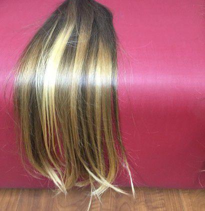 Cabelo loiro muito claro Martha Hair nº 9, mesclado, natural, liso, com coloração (kit com 25g)