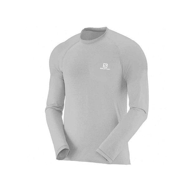Camiseta Segunda Pele Masculina Salomon Hybrid Cinza