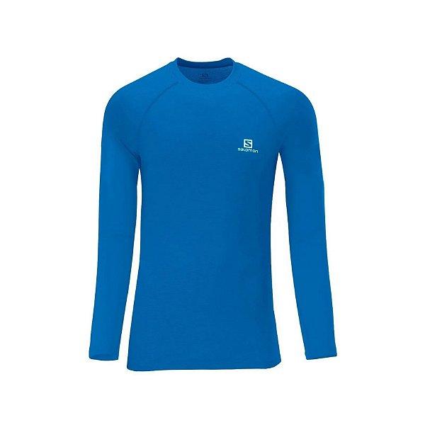 Camiseta Segunda Pele Salomon Masculina Hybrid Azul