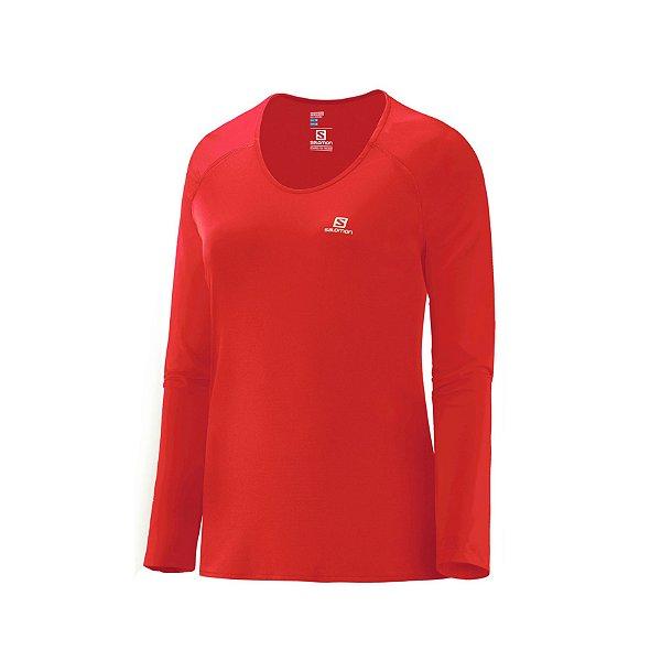 Camiseta Segunda Pele Feminina Salomon Hybrid Coral