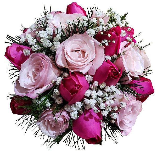 Buquê com Rosas Pink e Tonalidades