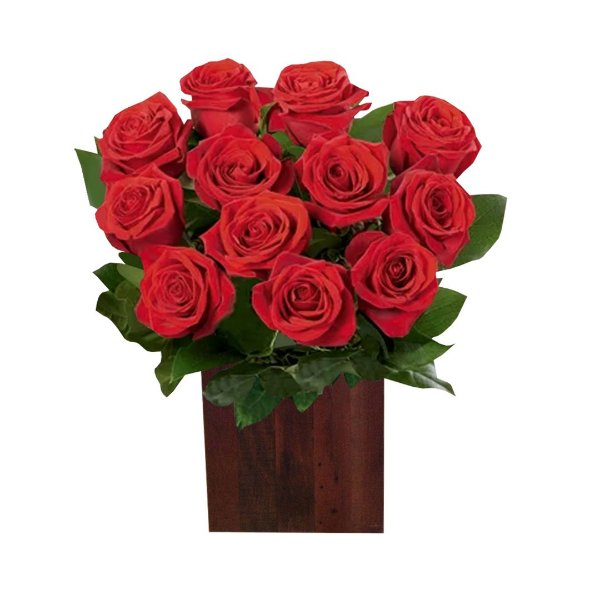 Arranjo Extravagante com 24 Rosas Colombianas Vermelhas no Cachepot de Madeira