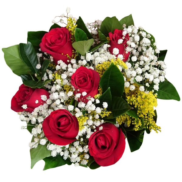 Buquê com 06 Rosas Nacionais Vermelhas