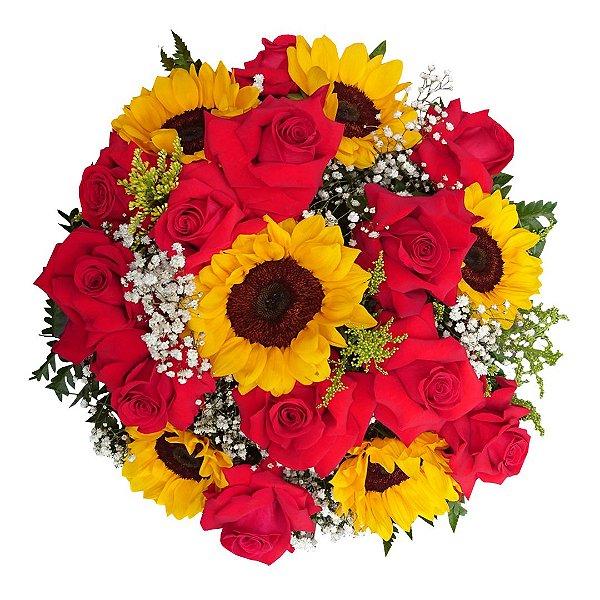 Buquê com 12 Rosas Colombianas Vermelhas e 06 Girassóis.