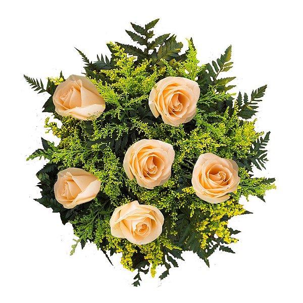 Buquê com 06 Rosas Champanhe Nacionais