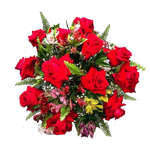 Buquê com 12 Rosas Colombianas Vermelhas Especial