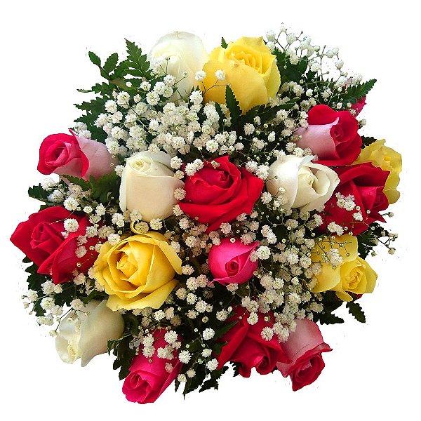 Buquê com 12 Rosas Nacionais Coloridas e Astromélias