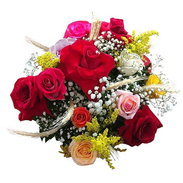 Buquê Mix de Rosas Colombianas e Nacionais