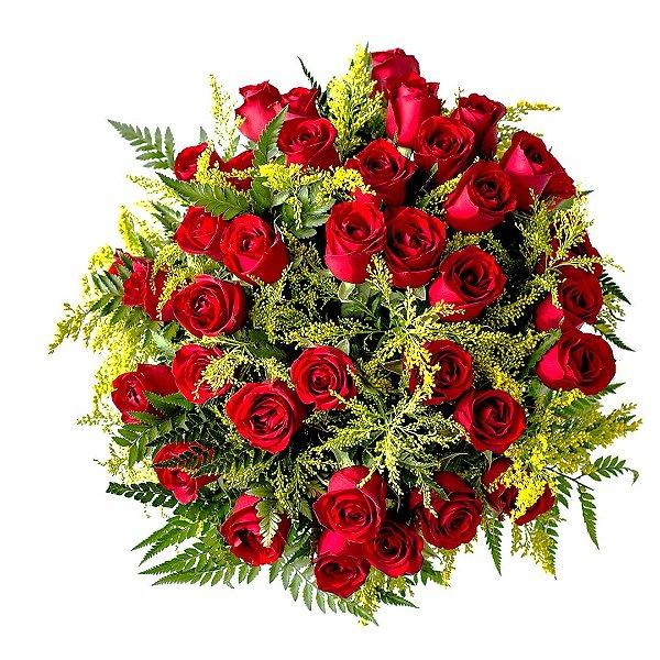 Buquê com 36 Rosas Vermelhas Nacionais