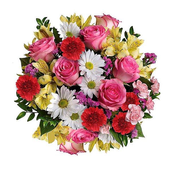Buquê com Rosas Cor de Rosas, Cravos Vermelhos , Margaridas Brancas e Astromélias Amarelas
