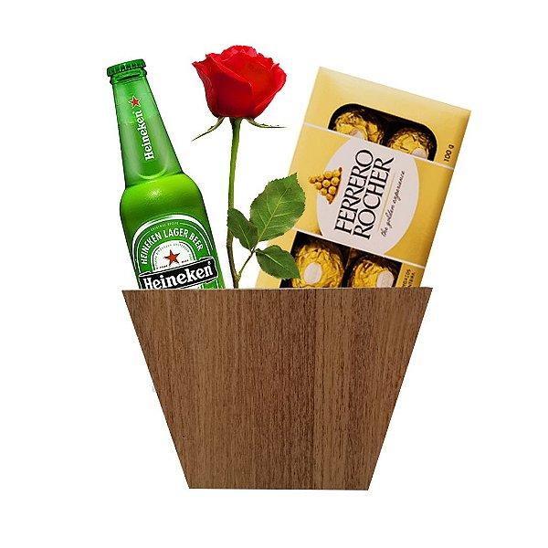 Heineken + Botão de Rosa + Caixa com Ferrero Rocher de 08 Und