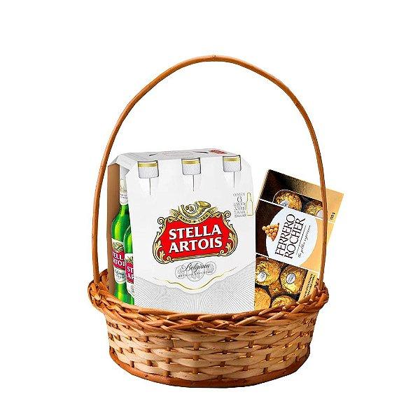 Cesta com Stella Artois (Pack com 06 Long Necks) + Caixa com Ferrero Rocher de 08 Und.