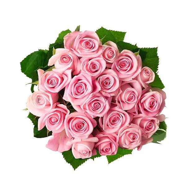 Buquê com 20 Rosas Nacionais Cor de Rosa e Folhagem Simples