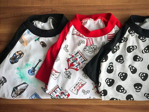 KIT de Camisetas para Cachorro (SKULL, MUSIC E POPCORN)