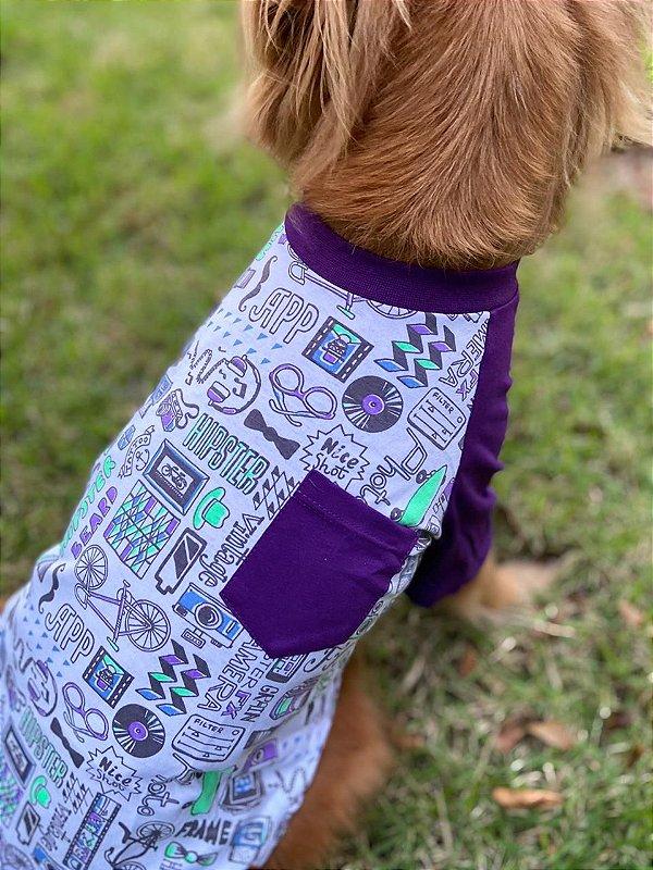Camiseta para Cachorro e Gato - Hipster Roxo