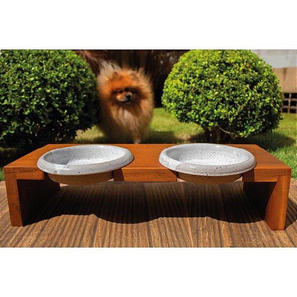 Suporte em Madeira com Potes em Cerâmica para Cachorro e Gato