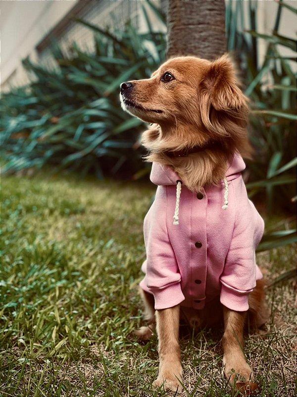 Moletom pra Cachorro com Capuz - Rosa Bebê