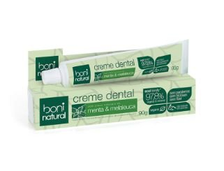 Creme Dental Boni Natural, Vegano, Menta & Melaleuca, 97,80% Vegetal & Mineral, 90g