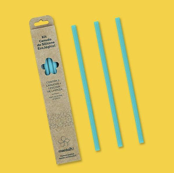 Kit Canudo de Silicone Ecológico Mentah - 3 canudos + 1 escova de limpeza