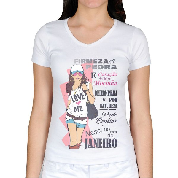 Camiseta feminina mulher de janeiro