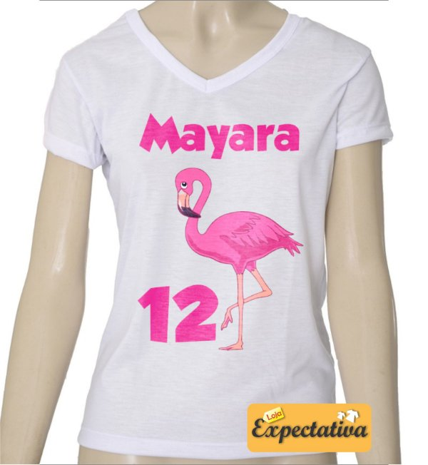 Camiseta Personalizada de Aniversário Flamingo - 02