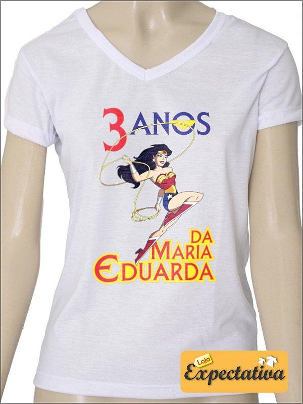 Camiseta Personalizada de Aniversário Mulher Maravilha - 01