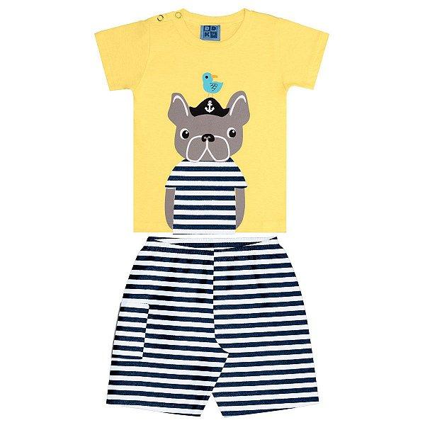 6e219f1ed1520a Conjunto Bebê Camisa Dog Amarelo Bermuda Moletinho Listrado