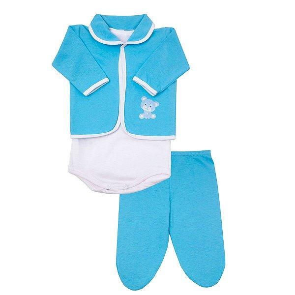 9f89190566aa1 Conjunto Pagão Recém Nascido de Malha Azul - Dudalui