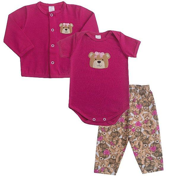 Tri Conjunto Ursinha Rosa Pink