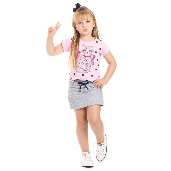 Conjunto Blusa Gatinha Rosa