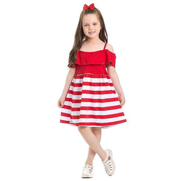 Vestido Menina Listrado Vermelho