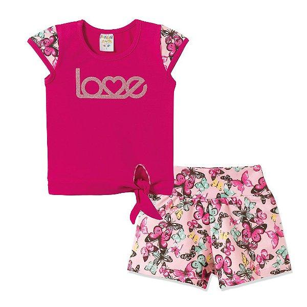 Conjunto Blusa Amarradinha e Shorts Love Pink