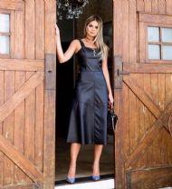 fdefe00a24 Vestido Midi Couro Eco - Roupas e Acessórios Femininos - Dress In