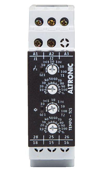 TCS 02-04 MM RELÉ DE TEMPO RETARDO/PULSO NA ENERGIZAÇÃO CÍCLICO (RE/RI) 2 SPDT 1TCS0204 ALTRONIC