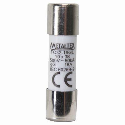 FC32-16GL FUSÍVEL CILÍNDRICO 10X38 MM METALTEX