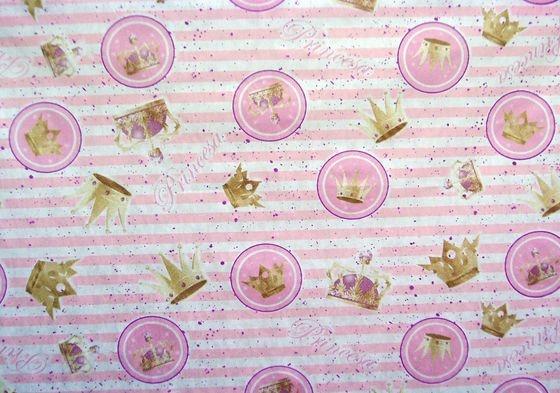TNT Estampado - Princesa Coroa Rosa e Dourado - 100x140cm