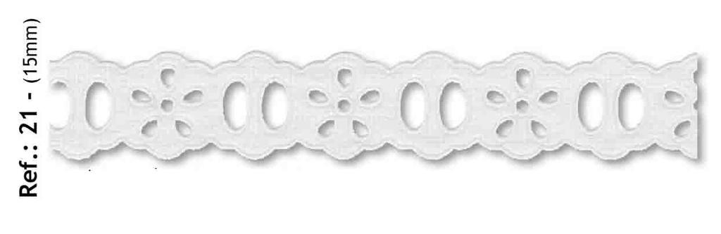 Bordado REF 21 Branco - 15MM - Peça com 9,90m