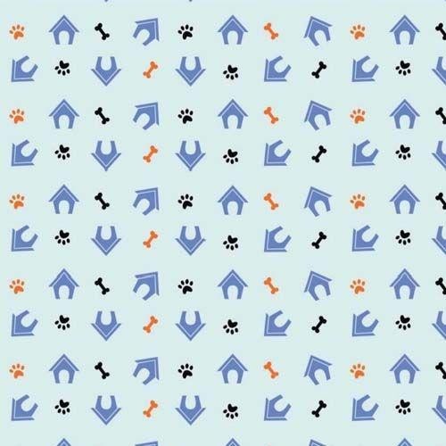 Tecido Tricoline 100% Algodão - 1,00m X 1,50m - Pet Fundo Azul