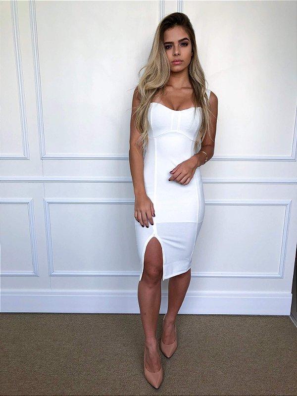 Vestido Midi Fenda Branco (offwhite)