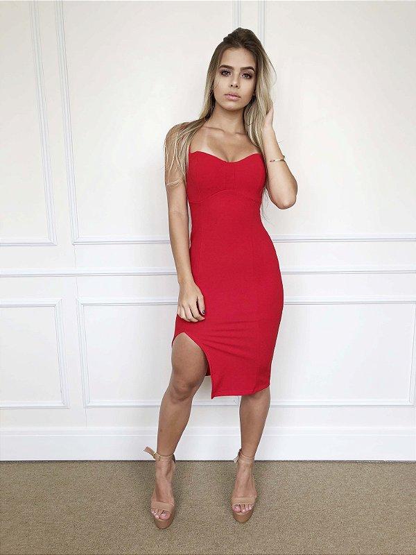 Vestido Midi Fenda Vermelho