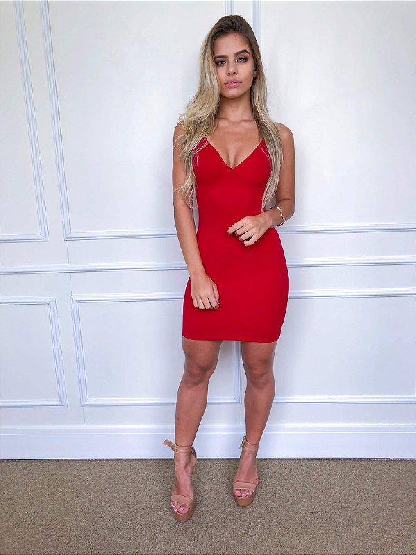 Vestido Fuel Fashion Tubinho Curto Balada Vermelho