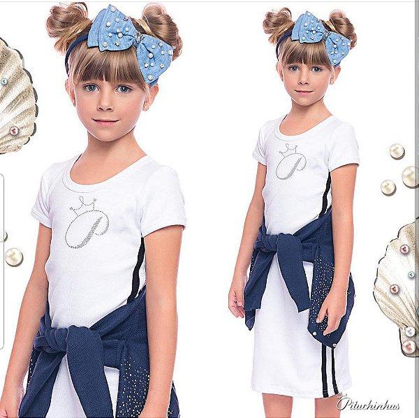 Vestido Midi Branco com faixa lateral em tricôt azul marinho Pituchinhus REF 18779