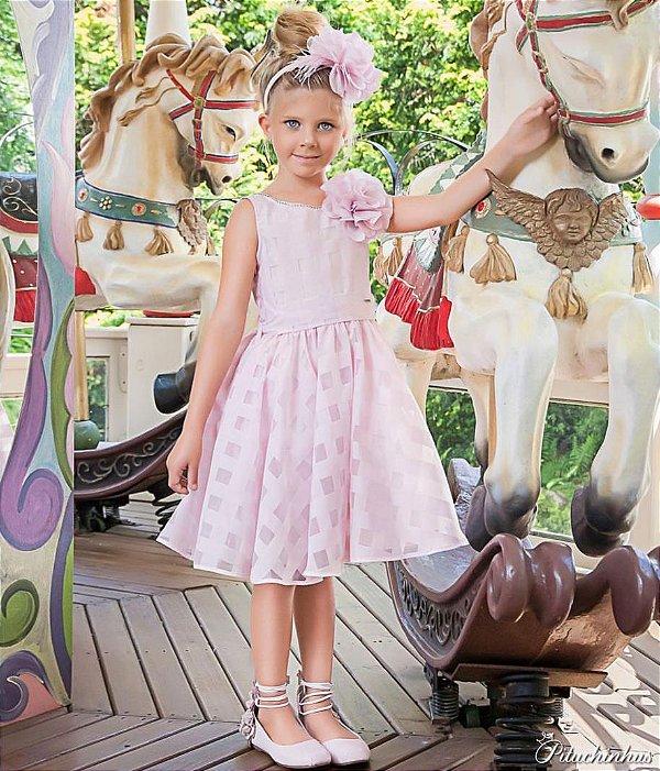 Vestido Princesa Organza xadrez Rosa Pituchinhus REF 18662