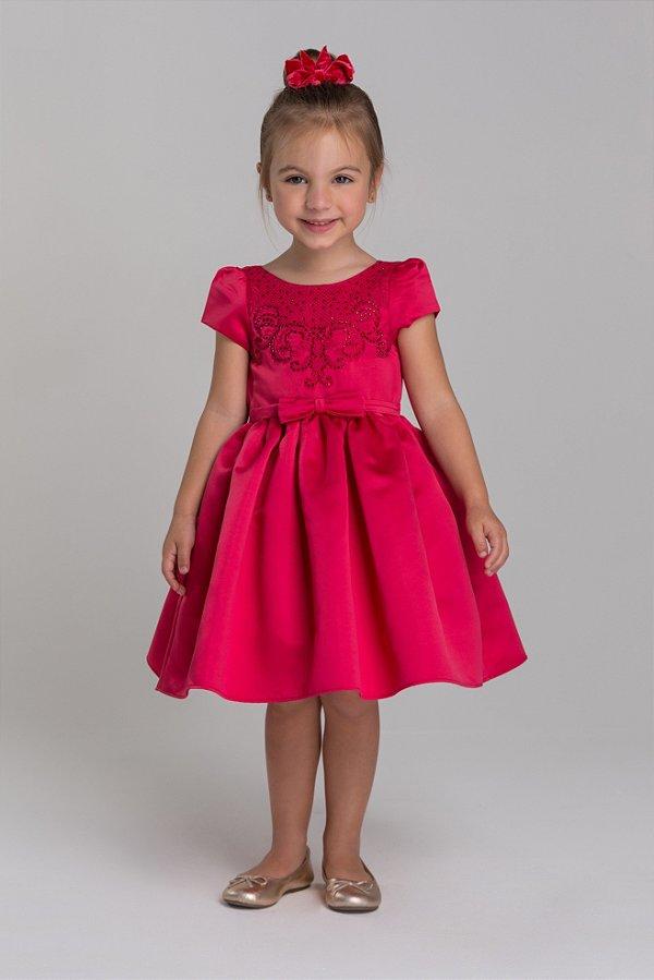 Vestido acetinado com bordado em cristais e cinto frontal vermelho Petit Cherie ref. 31290