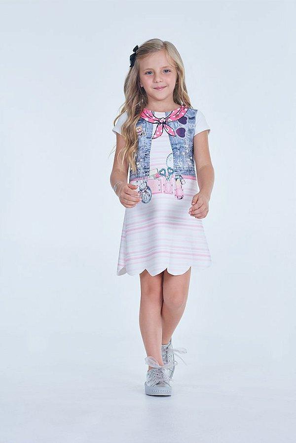 Vestido em Malha Neoprene Estampado com Perolas INFANTI ref. 38850